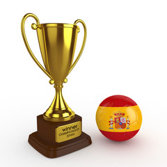 3d Spain Soccer Cup and Ball - isolated