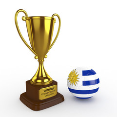 3d Uruguay Soccer Cup and Ball - isolated