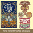 vector vintage items: label art nouveau