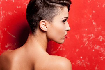 Beauty with stylish hairstyle.