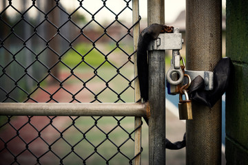 Padlocks on a Chain-link Gate