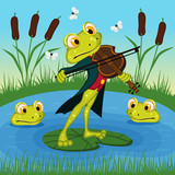 Fototapety Frog plays the violin - vector illustration, eps