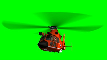 Coast Guard Helicopter in fly - green screen