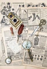 antique accessories and vintage fashion magazine