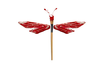 Red and white paint made dragonfly