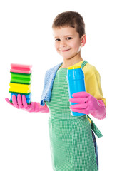 Smiling boy with colorful sponges