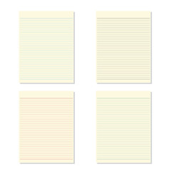 Set4 color of blank notebook paper