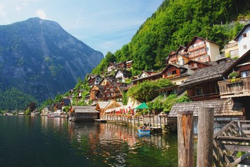 View of the Hallstatt from lake Hallstater See, Austria