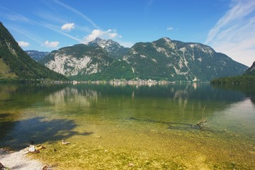 View of the lake Hallstater See in Salzkammergut, Austria