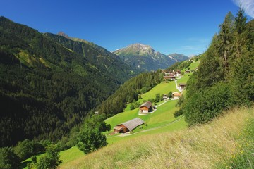 View of the alpine village Brandberg, Austrian Alps