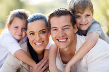loving young family having fun together