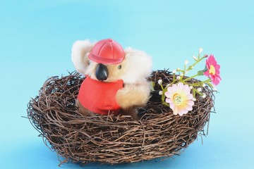 Nest with a Toy Koala