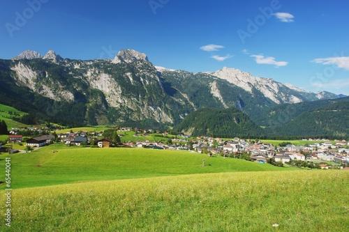 Leinwandbild Motiv View of the Tennen Mountains and Abtenau, Austria