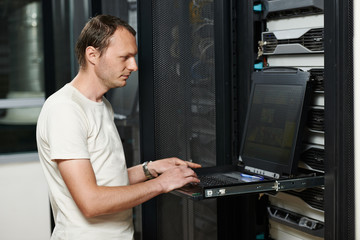 service engineer in server room