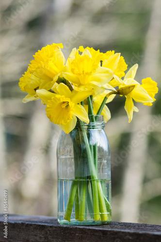 Foto op Aluminium Narcis Daffodil flowers in a jar