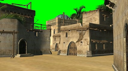 old desert city - background - green screen