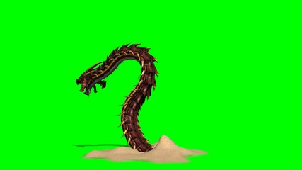 snakes sand worm creature is attacking - green screen