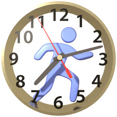 Person hurry runs in time clock hours