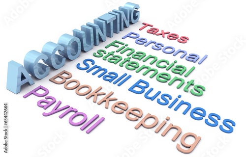 Accounting tax payroll services words