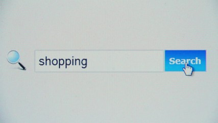 Shopping - browser search query, Internet web page