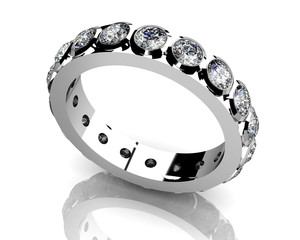 diamond ring on white background with high quality