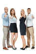 smiling business team group together thumbs up isolated