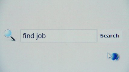 Find job - browser search query, Internet web page