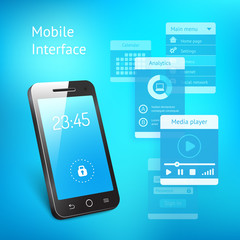 Mobile phone with elements for the user interface