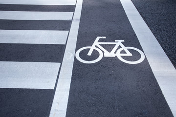 bicycle sign, bicycle sign painted on road surface in Japan