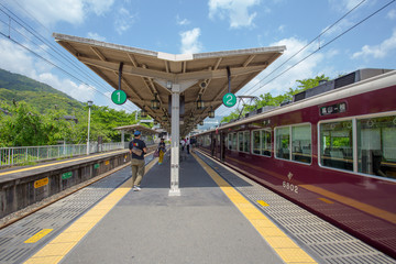 the arashiyama train station in Arashiyama, Kyoto, Japan