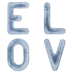 Letters L, O, V and E in ice