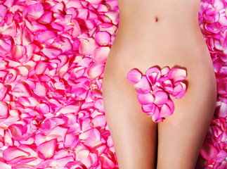 Petals of Pink Roses on woman's body. Concept of Waxing. Bikini