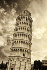 Leaning Tower of Pisa (Black & White)