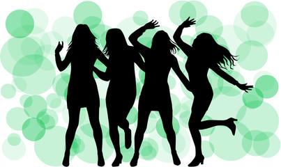 Dancing silhouettes women