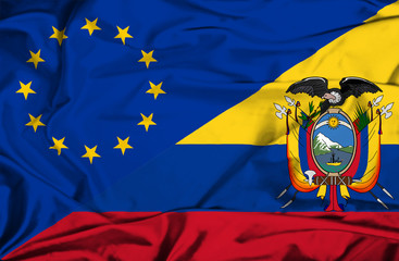 Waving flag of Ecuador and EU
