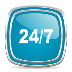 24/7 blue glossy icon