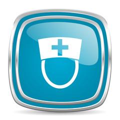 nurse blue glossy icon