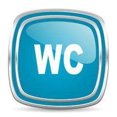 toilet blue glossy icon