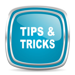 tips tricks blue glossy icon