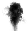 Leinwandbild Motiv Black steam looking like smoke on white background