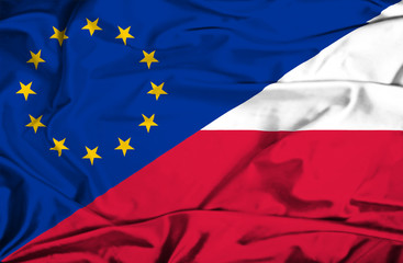 Waving flag of Poland and EU