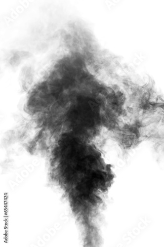 Black steam looking like smoke on white background - 65447424