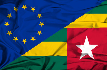 Waving flag of Togo and EU
