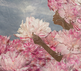 black girl in the flower garden,, floral fantasy
