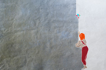boy paints the wall, texture of paper, poster