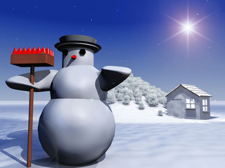 snowman and snow-covered landscape