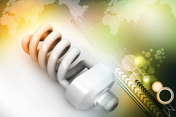 energy saving light bulbs isolated on color background