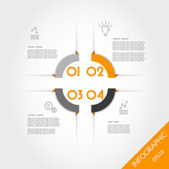orange infographic corner template with four elements