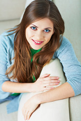 Woman relax on couch at home