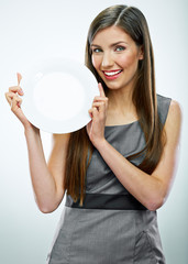 portrait of business woman hold empty white plate.